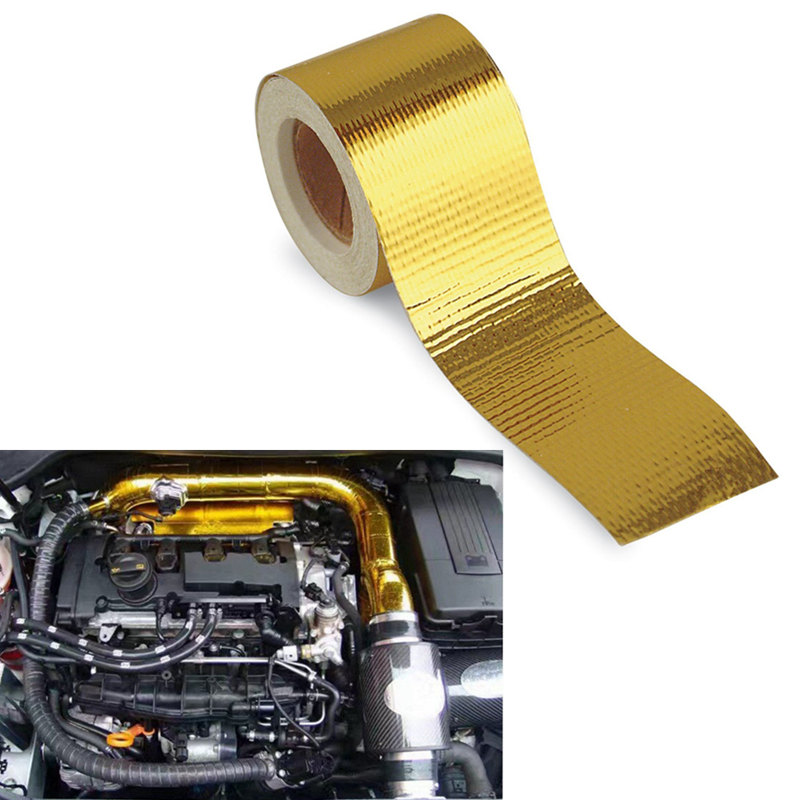 5mx5cm Fiberglass Heat Reflective Tape Gold High Temperature Heat and Sound Shield Wrap Roll Adhesive New Arrival Car Styling 15m high temperature header manifold exhaust wrap fiberglass roll orange page 3