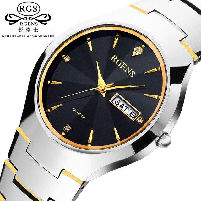 Moda hombre mujer reloj de pulsera de acero de Tungsteno de cuarzo de Ocio Par de semana calendario de Relojes de Diamantes mujer hombre relojes a prueba de agua