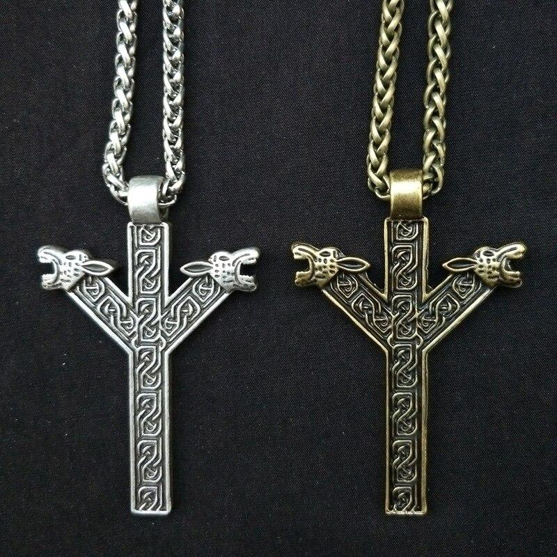 10pcs Nordic Ethnic Viking Rune Necklace Norse Amulet Chokers Antique Silver Bronze Viking Pendant Fashion Jewelry