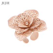 JUJIE Fashion Rings Flower Rings For Women Adjustable Gold Color Vintage Hollow Ring Wedding Ring Female Jewelry Dropshipping