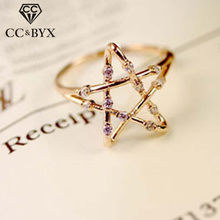 CC S925 Silver Rings For Women Hollow Star Lovers Anel Tail Ring Adjustable Accessories Double Color Bijoux Femme CC1496(China)