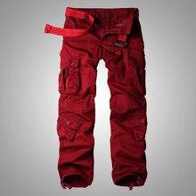 MIXCUBIC,, Осенние, корейский стиль, стиральные, винно-красные, хлопковые комбинезоны, брюки, мужские, повседневные, свободные, мульти-карманные, брюки карго для мужчин, 28-42