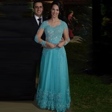 Vestidos de graduacion largos 2019 line lace beaded long sle