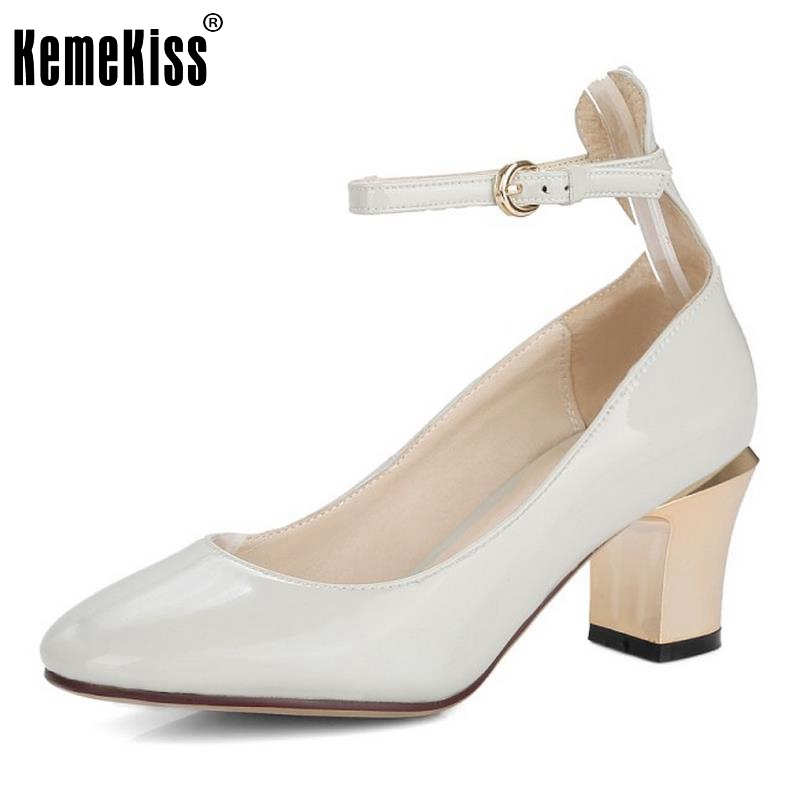 2017 hot women metal strappy pumps sandals high heels wedding shoes stiletto ladies pointy toe high heeled ankle strap shoes Ladies Geniune Leather High Heels Shoes Women  Round Toe Patent Leather Ankle Strap Heeled Pumps Party Footwears Size 33-39