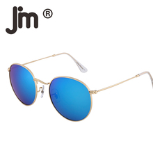 JM 10pcs/lot Wholesale Retro Oval Round Steampunk Men Women Sunglasses Classic Vintage Glasses Mirrored Lens Metal Frame