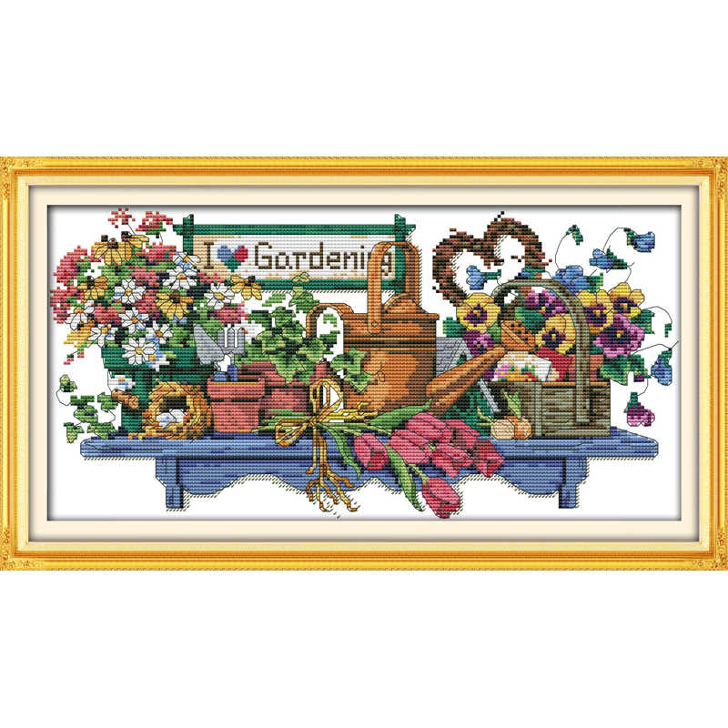 Everlasting love I love gardening  Chinese cross stitch kits  Ecological cotton Fabric 11 CT DIY  christmas decorations for home