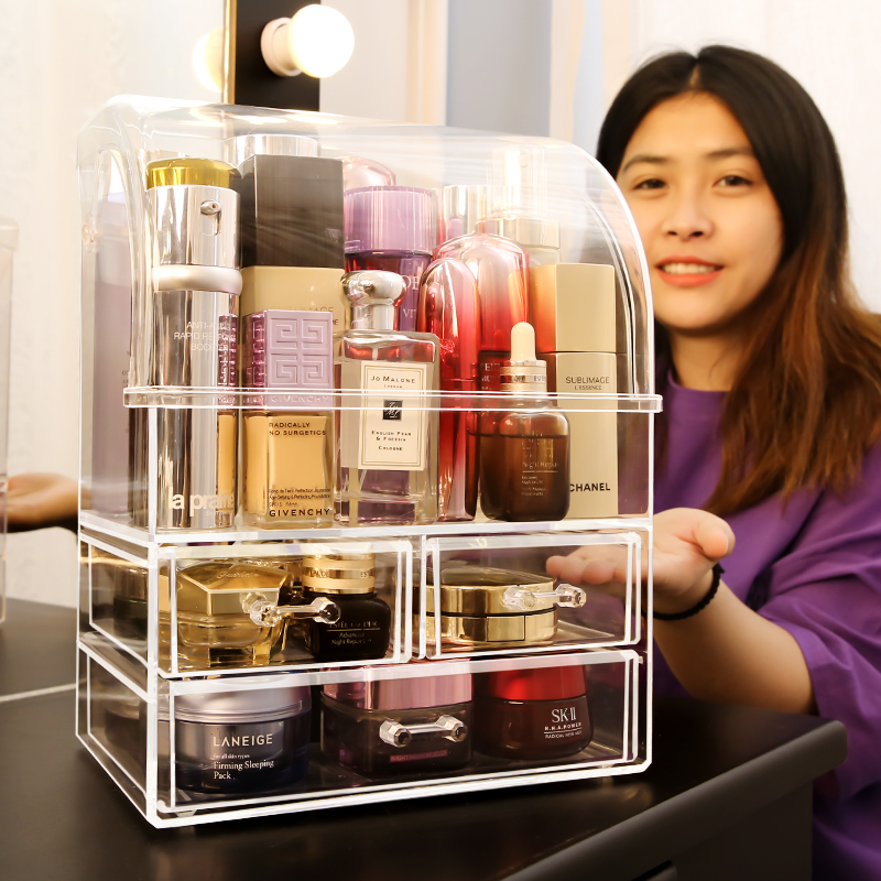 Grandes bouteilles de parfum anti-poussière maquillage boîte de rangement bouteilles de parfum en plastique anti-poussière cosmétique maquillage boîte organisateur C5062