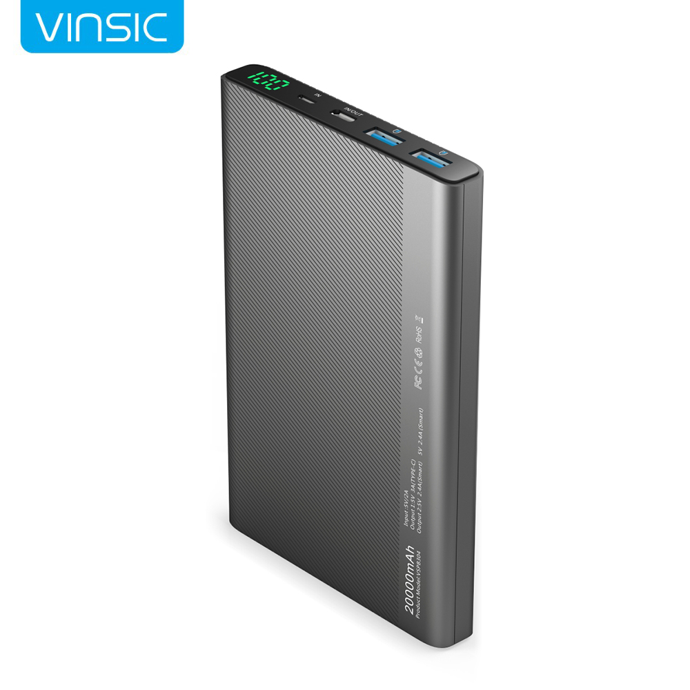 Vinsic Type C 3A USB Power Bank 20000mAh Dual 2 4A Universal External Battery Charger for