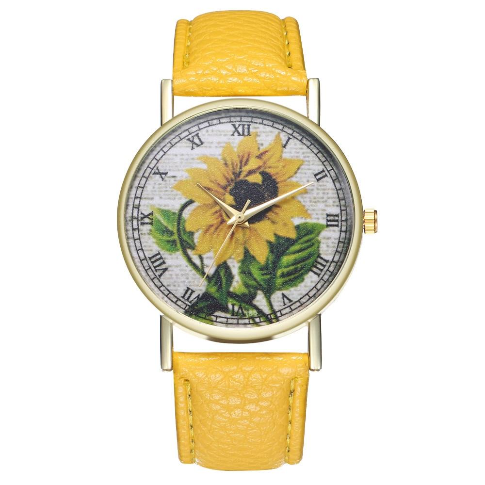 פשוט יוקרה עור מפוצל שעונים קוורץ יד שעונים חמניות ציור נשים גבירותיי שעון זוג שעון תכשיטי & Ff