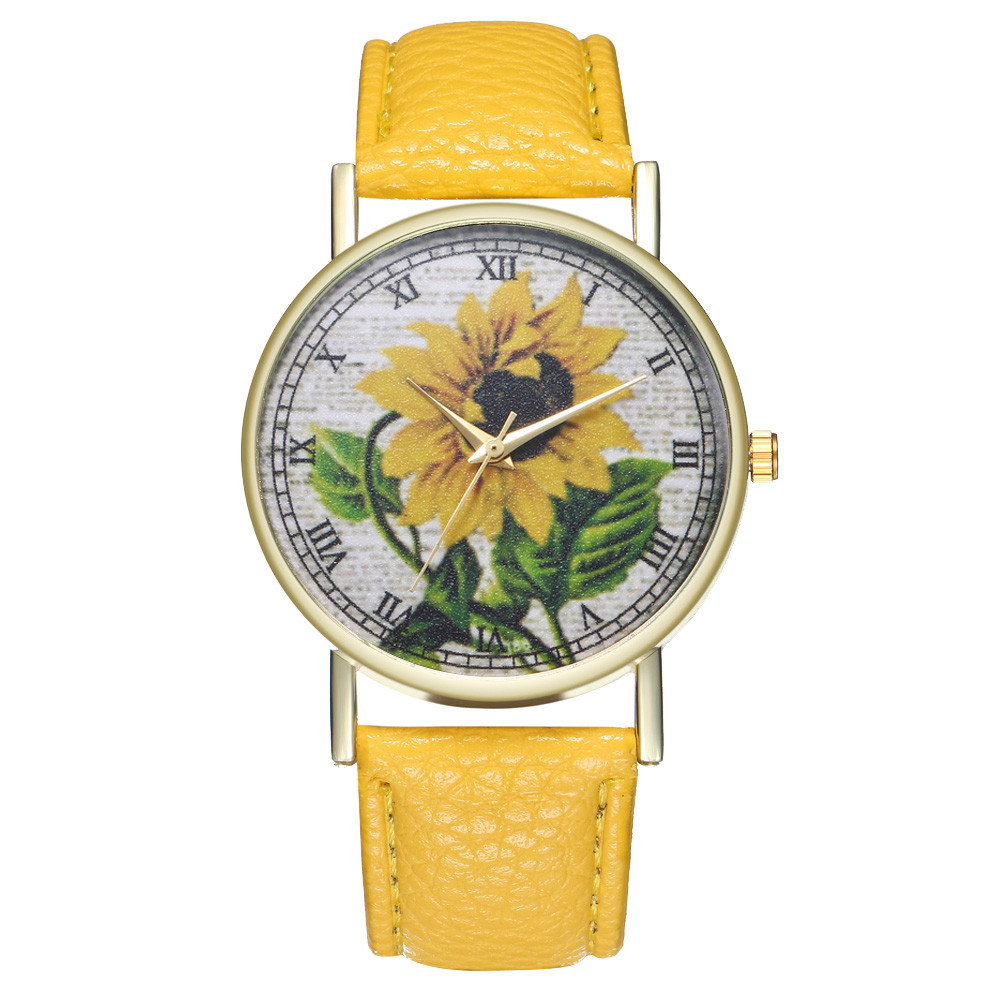 Simple Luxury PU Leather Watches Quartz Wrist Watches Sunflower Painting Women Ladies Couple Watch Clock Jewelry &Ff