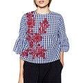 Mulheres floral bordado xadrez blusa de algodão três quartos flare completo manga camisas soltas moda streetwear tops blusas lt1194