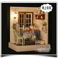 F002 pastoral sweet words ( including dust cover ) diy dollhouse LED light Miniature Living room wooden doll house free shipping