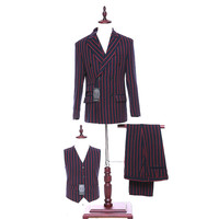 NEW Design Mens Classic Suits Red Striped Fabric Slim Fit Wedding Suits Formal Business Formal Wear
