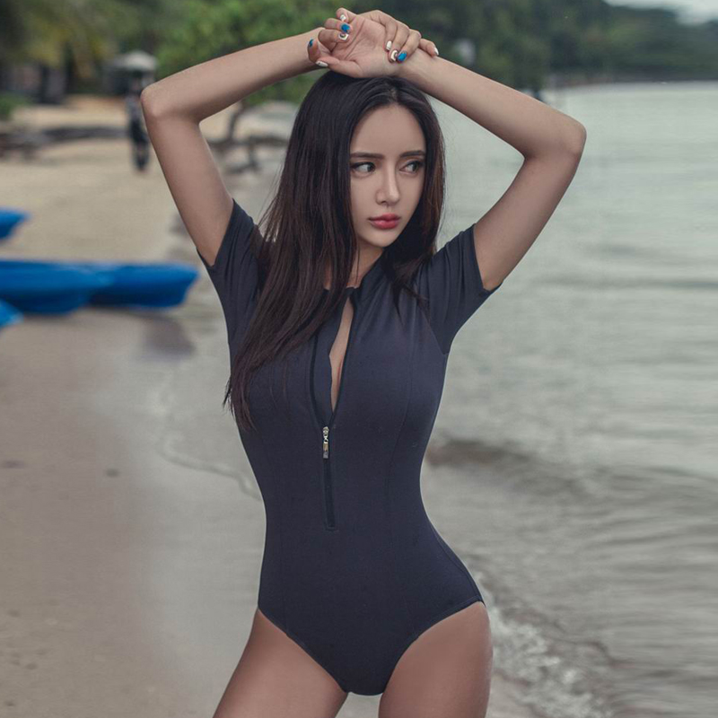 Body Suits Korean Womens One Piece Swimsuit Floral Printing Long Sleeve High Neck Front Zipper Wireless Padded Bathing Suit
