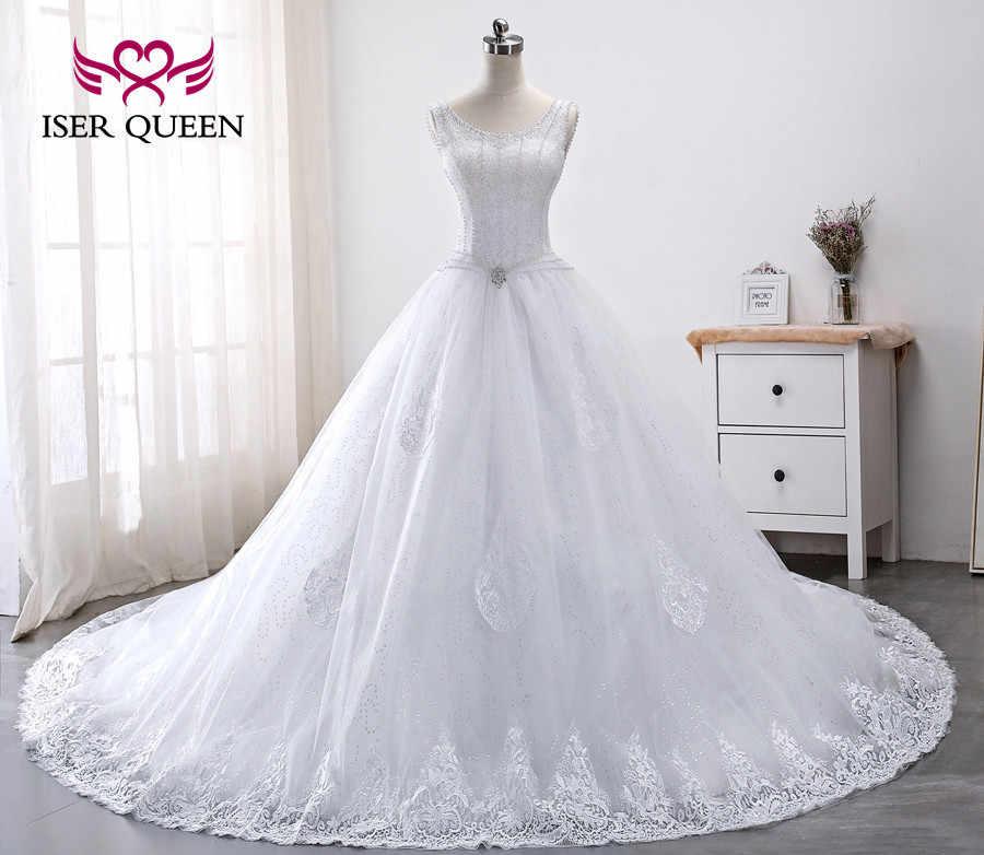 Vestido De Novia De Lujo Con Perlas De Cristal Estilo Princesa Vestido De Baile Bordado Corte Tren Wx0012 Vestidos De Novia Aliexpress