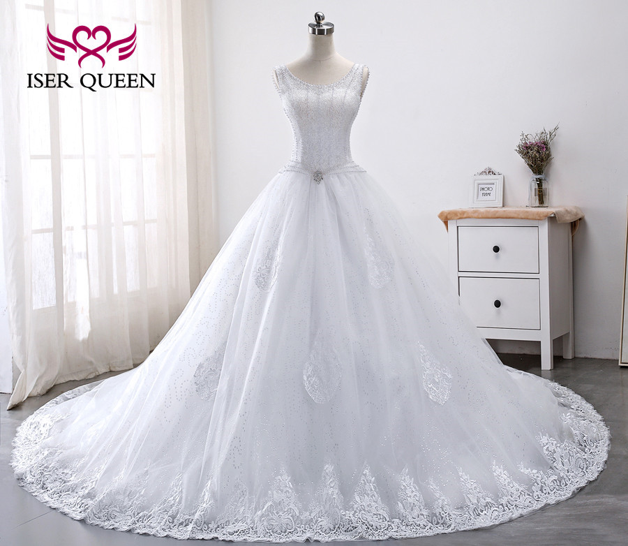 Luxury Crystal Pearls Beading Wedding Dresses Princess Style Ball Gown Embroidery Appliques Court Train Wedding Dress WX0012