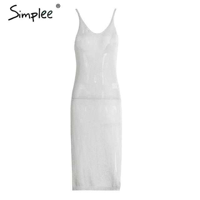 Simplee Knitted sexy summer dress women Hollow out deep V neck party dress robe Backless elastic slit dress vestidos de vesta