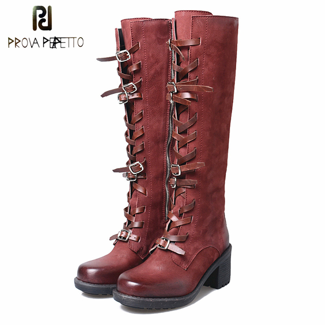 Prova Perfetto Genuine Leather Belt Buckle Knee High Women Motorcycle Boots Cross Tied Chunky Heel Thick Bottom Cool Winter Boot