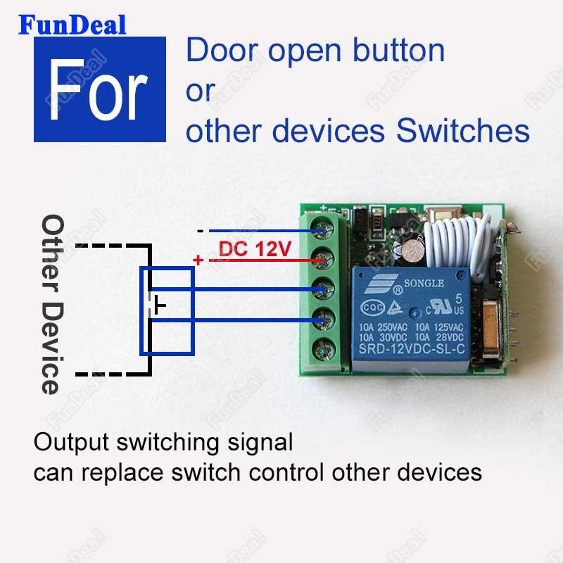 DC12V 1CH Relay Receiver RF Transmitter 433Mhz Wireless Remote Control Switch$