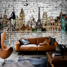 3D Wallpaper Classic European Architecture Eiffel Tower, Big Ben, Statue of Liberty Brick