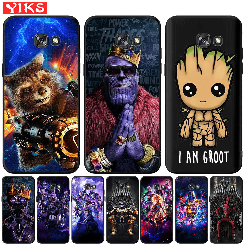 Marvel Avengers Heros Cute Groot For <font><b>Samsung</b></font> Galaxy A3 A5 A6 A7 A8 2016 2017 A9 Plus 2018 <font><b>A30</b></font> A50 Case Black TPU Cover Etui image