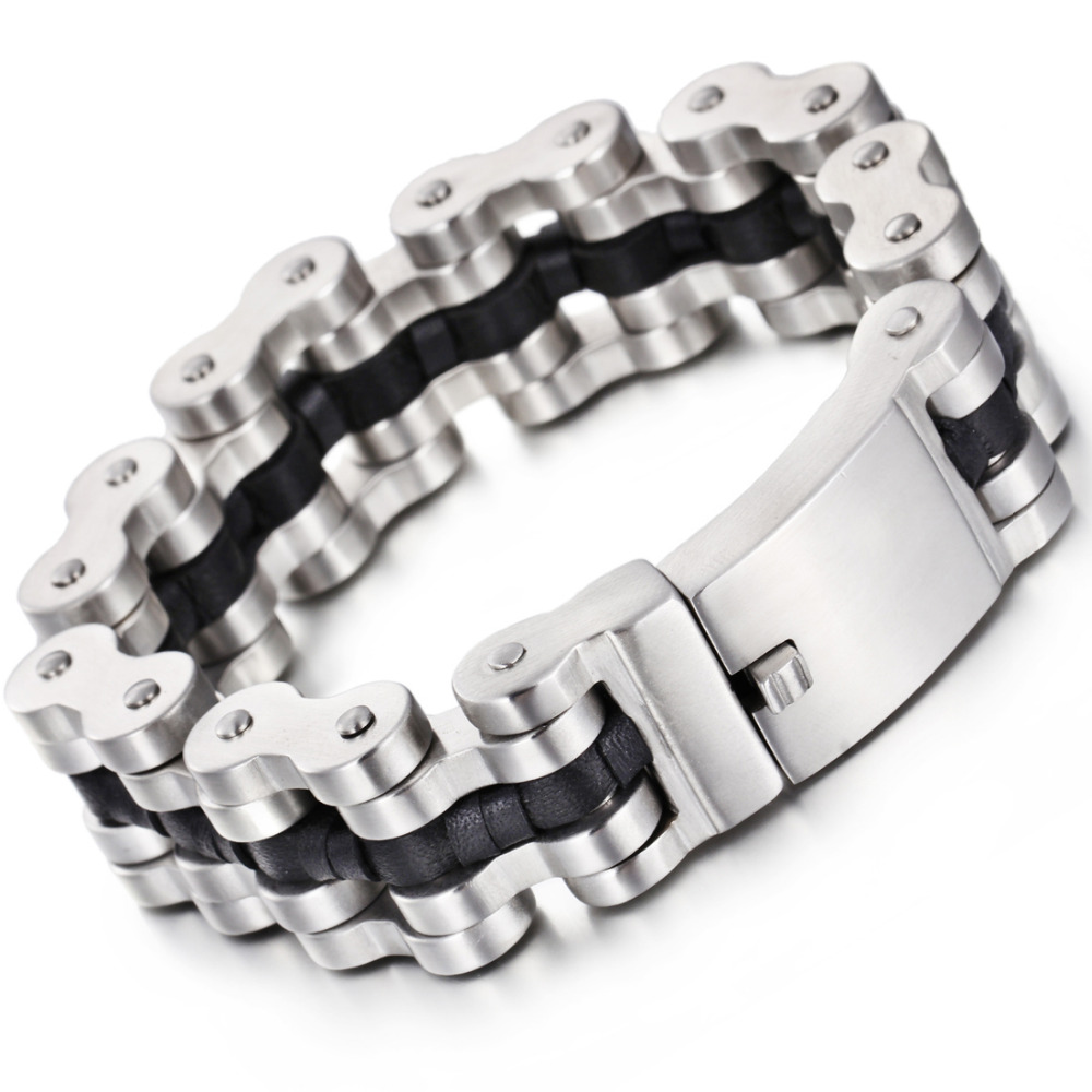 22MM Wide Heavy Mens Bracelets Punk Men Biker Motorcycle Bracelet Jewelry Chain Link Stainless Steel Bracelet trustylan cool stainless steel dragon grain bracelets men new arrival punk rock keel mens bracelets