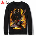 Uni-Splendor 2016 Autumn Rock and Roll Skull Print Men Black O-Neck Hoodies Fashion Casual Men's Hip Hop Sweatshirt XXXL YN805