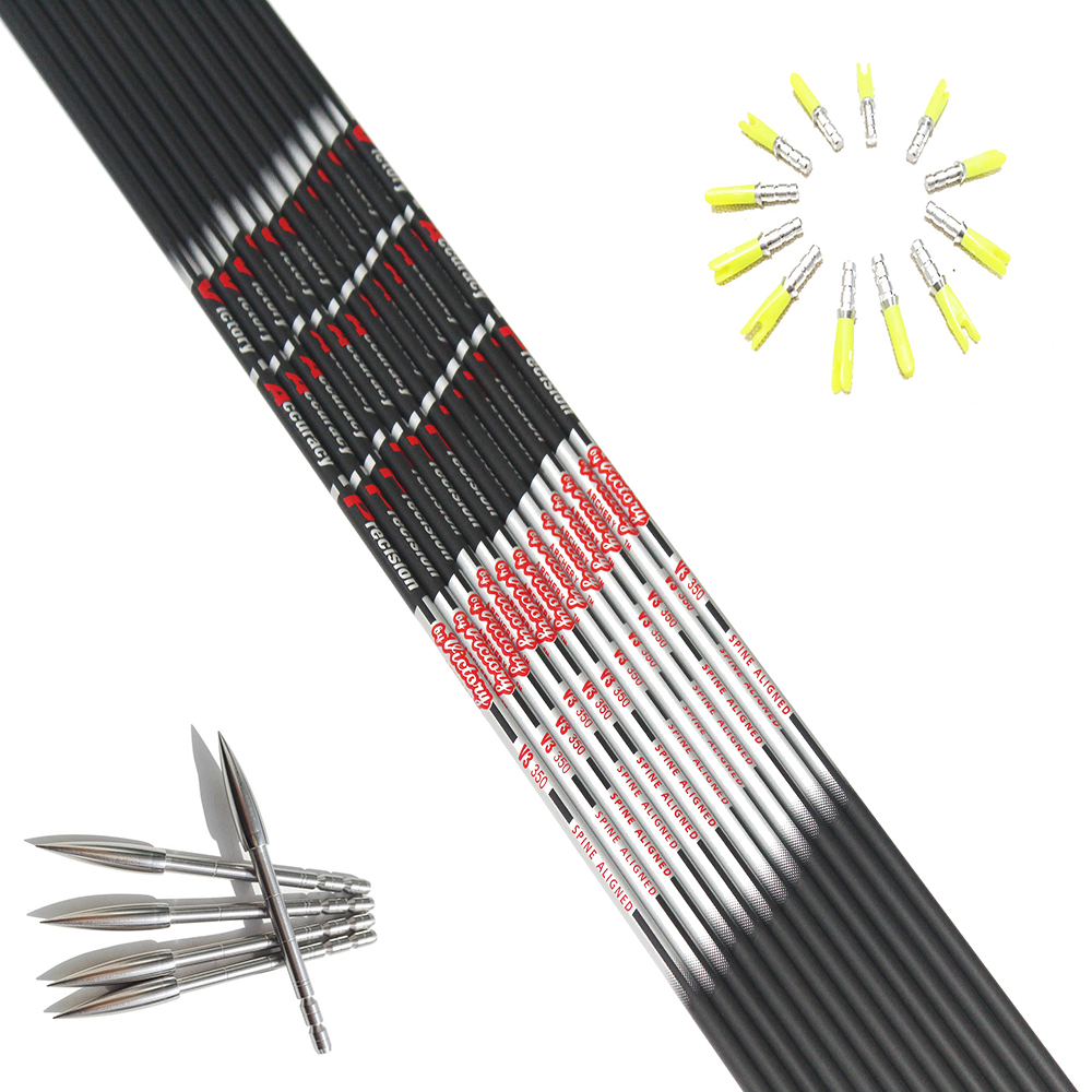 12pcs Pure Carbon Arrow Shaft ID4.2mm Sp350/400/500/600+12pcs Pin Nock+12pcs Stainless Steel Target Point For DIY