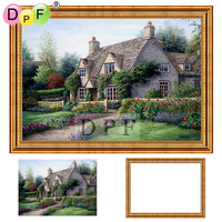 DPF Diamond Embroidery With Frame 3d Diamond Painting Cross Stitch Forest Hut Full Round Diamond Mosaic