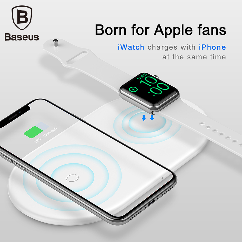 Baseus 2 em 1 Qi Carregador Sem Fio Para Apple iPhone Relógio XS Max X 8 Samsung S10 10W 3.0 rápido Rápido Carregamento Pad Para eu Watch4 3 2