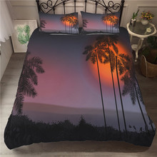 A Bedding Set 3D Printed Duvet Cover Bed Holiday Coconut Tree Home Textiles for Adults Bedclothes with Pillowcase #YS01