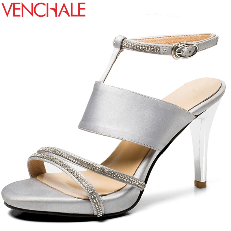 VENCHALE women shoes 2018 summer new sandals fashion heels height 7 cm silk crystal thin heels shoes sexy flatform sandals venchale two heels options sheepskin