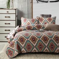 Европейский и американский стиль лоскутное одеяло с принтом Полный/queen Размер цветочный 100% хлопок богемное покрывало на кровать Бесплатная