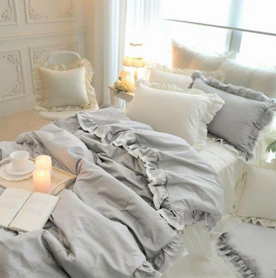 Twin white ruffle bedding - Princess Ruffle Lace Cotton Bedding Set Teen Girl Twin Full Queen King Gray Home Textile Bedspread Pillow Case Comforter Cover