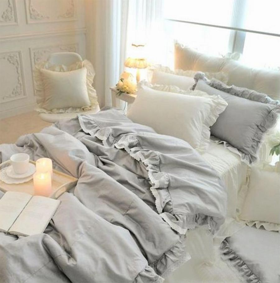 Princess Ruffle Lace Cotton Bedding Set Teen Girl Twin