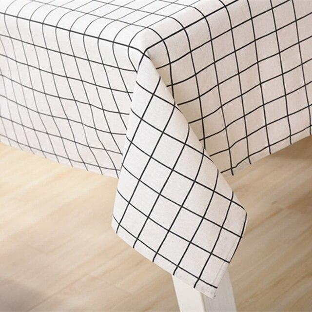 Geometric Grid Pattern Cotton Linen Tablecloths Decorative Home Decor Table  Cloth High Quality Tablecloth