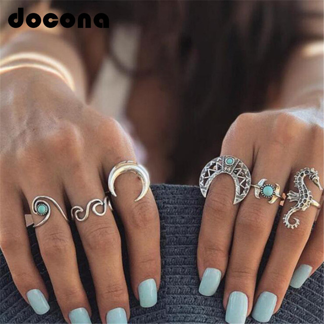 docona Bohemian Silver Moon Sea Horse Finger Ring Set for Women Green Rhinestone
