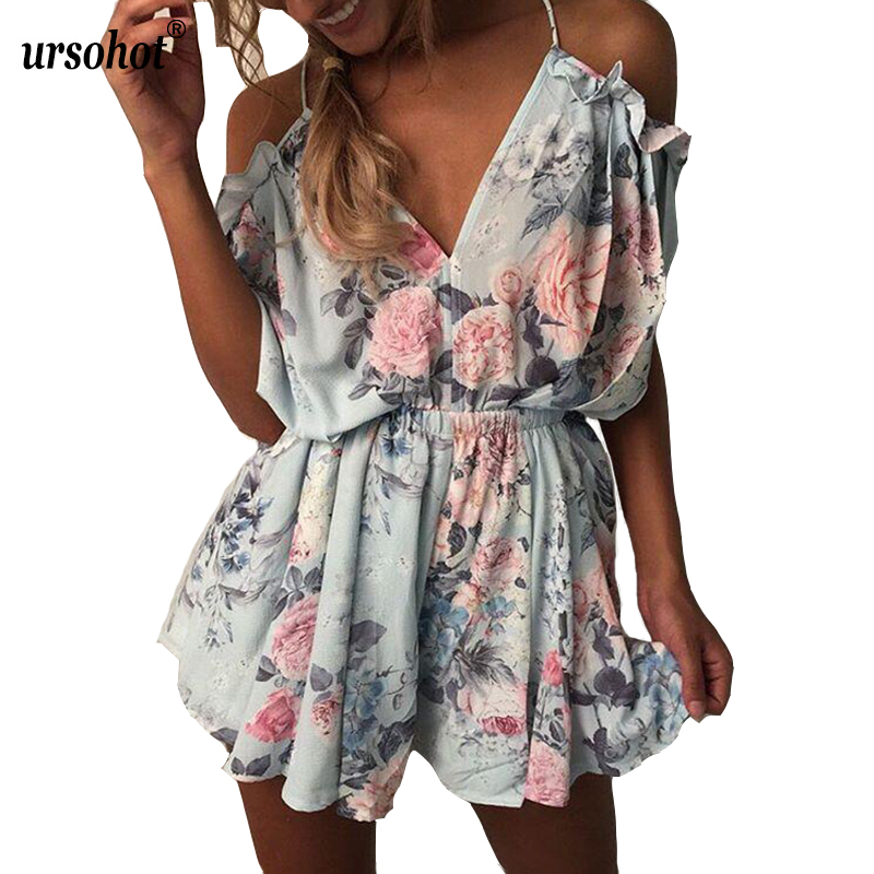 Ursohot Floral Printed Playsuits Off Shoulder Overalls Femme Jumpsuit 2017 Casual Deep V Neck Backless Ruffles Women's Bodysuits