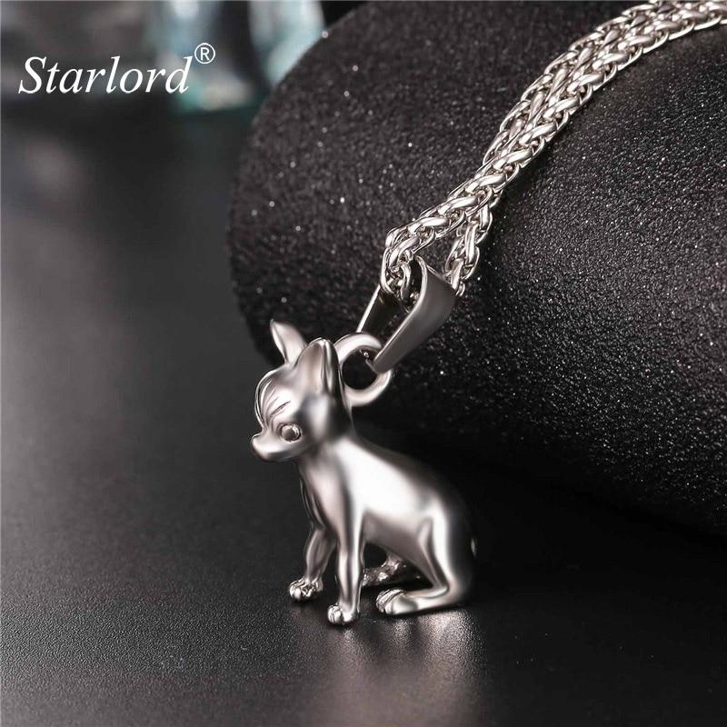 Starlord Chihuahuas perro Collar COLGANTE Collier de acero inoxidable/Cadena de Color oro de las mujeres/hombres Collar de joyería de mascotas GP2464
