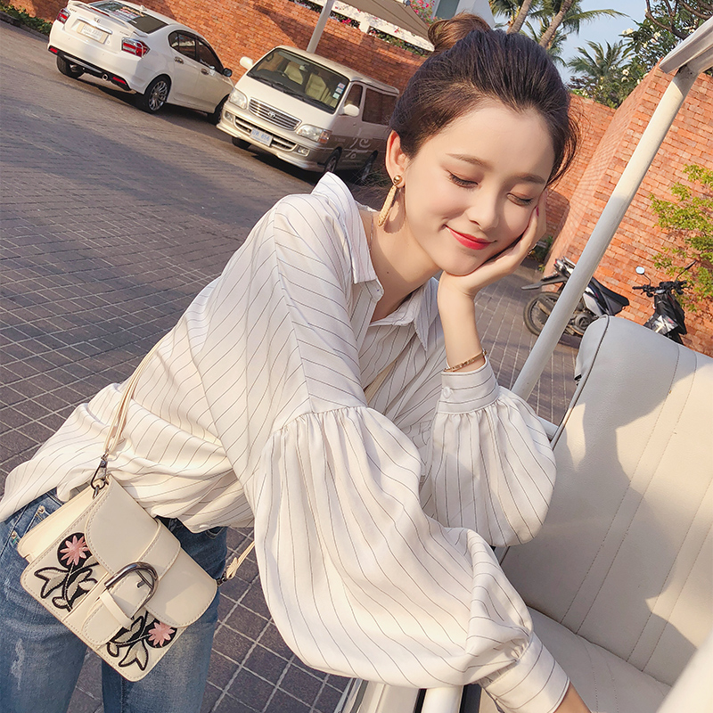 Mishow Female Shirt Long Sleeve 2018 Autumn Office Lady Lantern Sleeve Turn Down Collar Casual Shirt Tops Spring MX17D4546