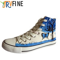 YJRVFINE Hand Painted Women High Top Canvas Shoes Female Casual Butterfly Graffiti Shoes Students Flats Teens
