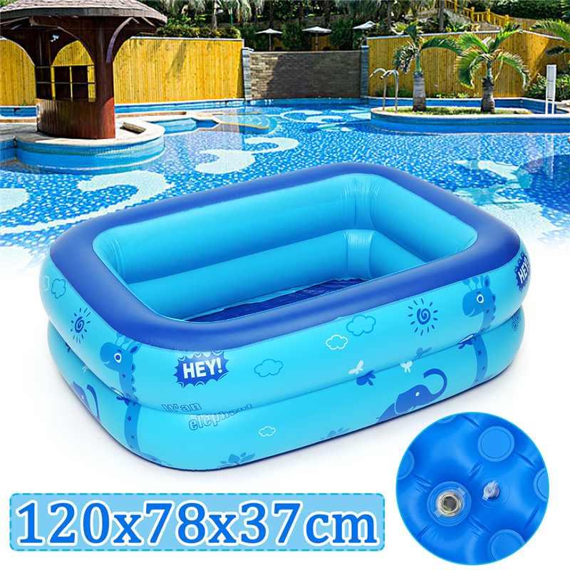 Kids Inflatable Pool Large Size Children's Home Use Paddling Pool Inflatable Square Swimming Pool Heat Preservation 120x78x37cm