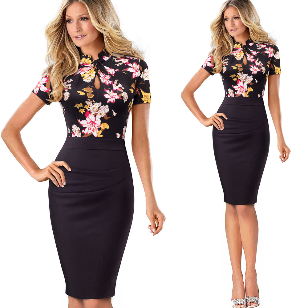 Nice-forever Vintage Contrast Color Patchwork Wear to Work Knot vestidos Bodycon Office Business Sheath Women Dress B430 28