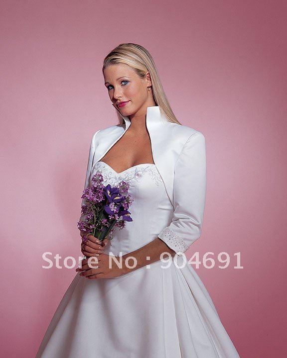 Wholesale Custom Mid Sleeves White Satin Beaded Wedding