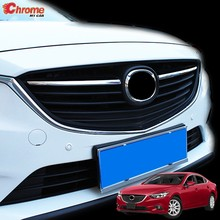 For Mazda 6 Atenza GJ 2013 2014 2015 2016 Chrome Front Center Mesh Grille Grill Cover Radiator Strip Trim Decoration Car Styling(China)