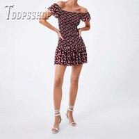 b7d0e3010 2019 Burgundy Ruffles Women Dress Off Shoulder Summer Female Dresses. 2019  Burdeos volantes vestido de las mujeres hombro verano Mujer Vestidos