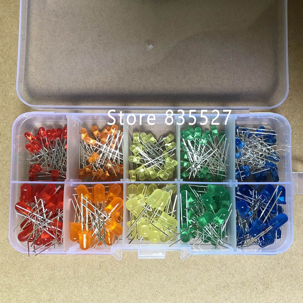 200pcs/box F5 5MM + F3 3MM In Sets Kit Mixed 5 Color : Red / Orange / Yellow / Green / Blue LED Light Emitting Diode Turn DIP