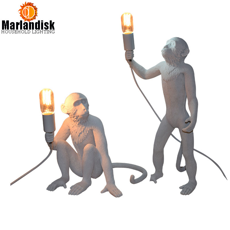 Modern Creative Art Monkey Table Lamps Loft Style Handmade Resin Monkey Bedside Table Li ...