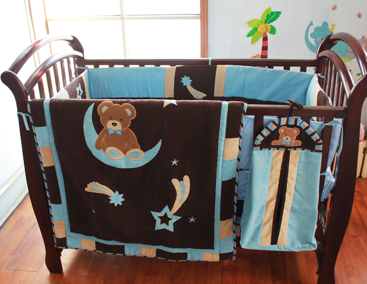 5pieces Crib Infant Room Kids Baby Bedroom Set Nursery Bedding Cotton And Suede Patchwork Cot For Newborn Boy In Sets From Mother