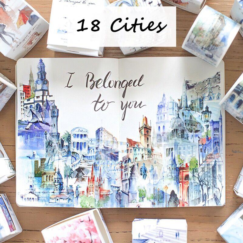 18 Citis/Set Travel Series Washi Tape Set Japanese Cute Masking Tape DIY Post It Scrapbooking Sticker Label Gift Box Set